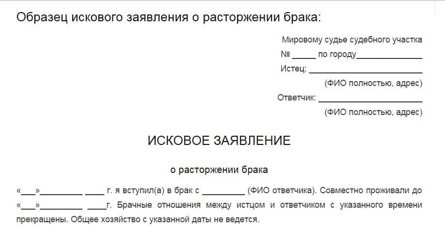 Образцы документов для развода через суд